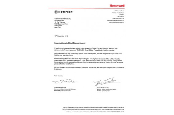 Global become the first £1M Honeywell Notifier Distributor